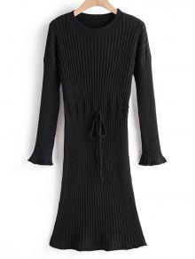 التعادل إسقاط الخصر الكتف مضلع سترة اللباس - أسود