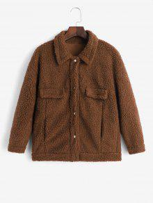 Snap Button Faux Pockets Teddy Jacket
