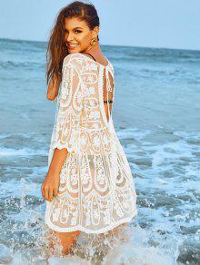 مجرد شبكة مطرزة فستان الشاطئ - أبيض