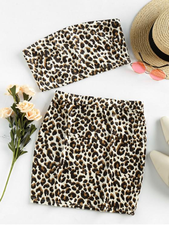 lady ZAFUL Leopard Velvet Bandeau Two Piece Dress - MULTI-A M