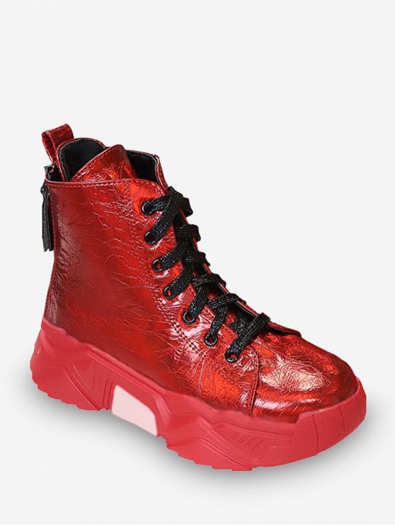 Chaussures Plate-forme Hautes en Cuir Verni en Laine - Rouge EU 39