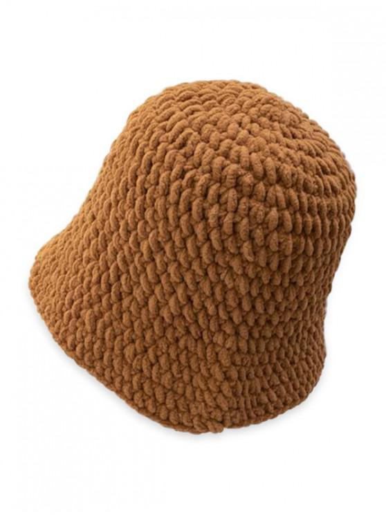 sale Solid Color Cable Knitted Hat - COFFEE