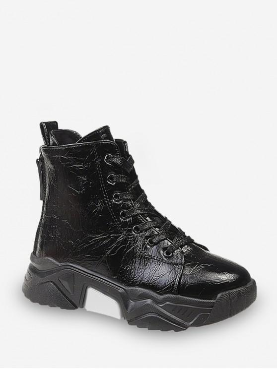 Chaussures Plate-forme Hautes en Cuir Verni en Laine - Noir EU 37