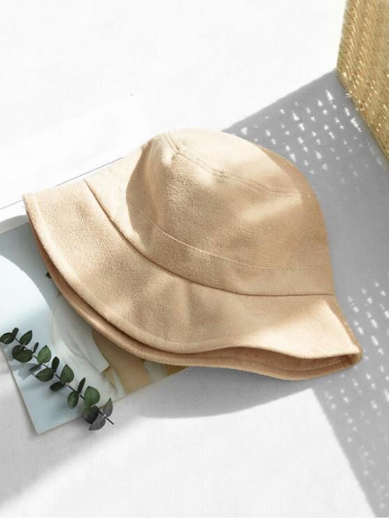 ladies Winter Solid Fabric Bucket Hat - BEIGE