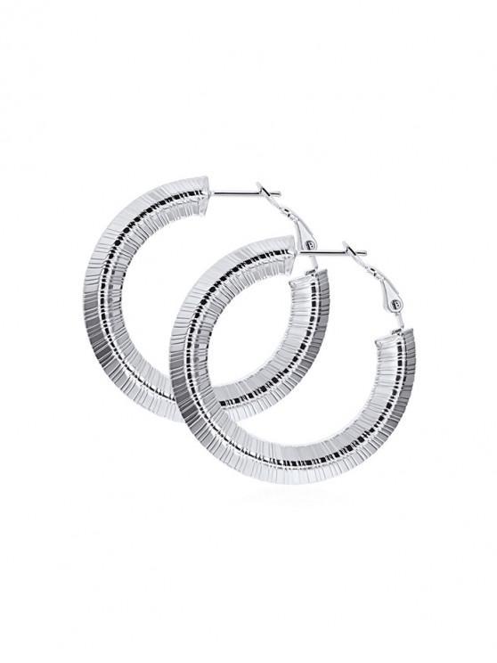 別緻的條紋設計合金耳環 - 銀 25MM