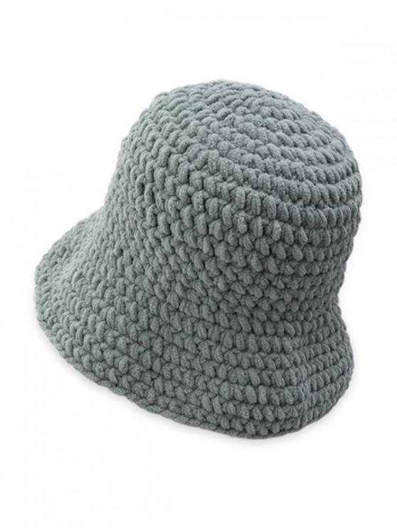 new Solid Color Cable Knitted Hat - GRAY