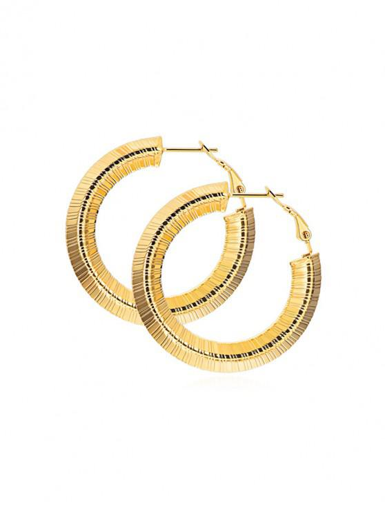 hot Chic Striped Design Alloy Earrings - GOLD 25MM