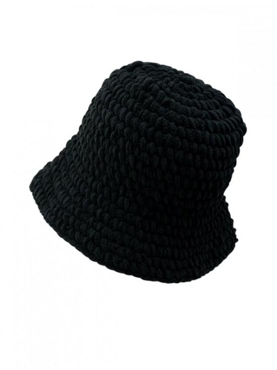 outfit Solid Color Cable Knitted Hat - BLACK