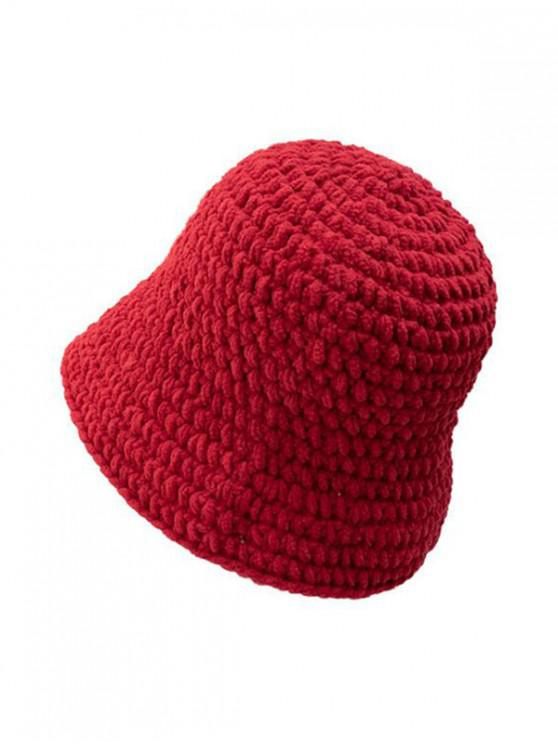 shop Solid Color Cable Knitted Hat - RED