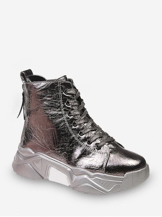 latest Patent Leather Platform High Top Fleece Shoes - CHAMPAGNE GOLD EU 37