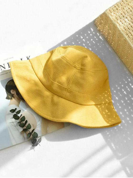 Chapeau d'Hiver Seau en Couleur Unie en Tissu - Jaune