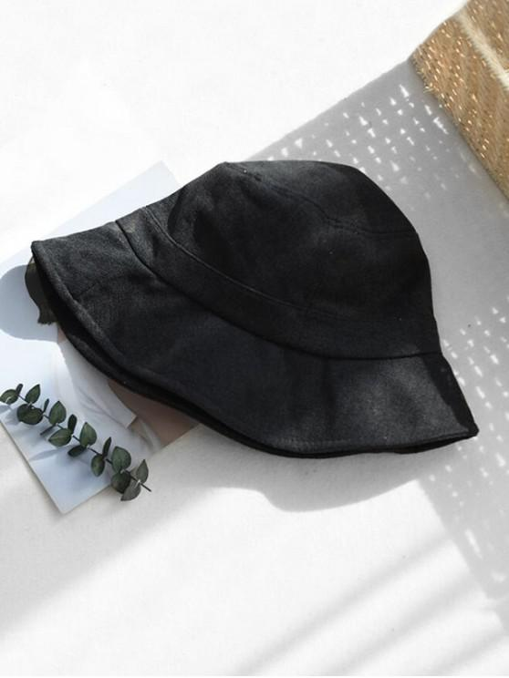 chic Winter Solid Fabric Bucket Hat - BLACK