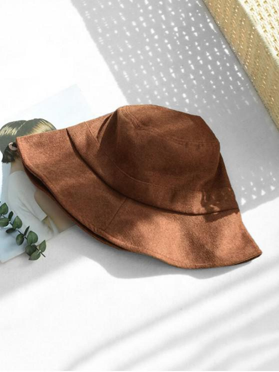 sale Winter Solid Fabric Bucket Hat - COFFEE