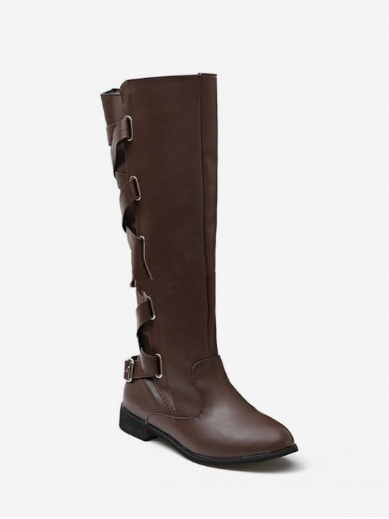 shops Back Criss-cross Knight Fleece Knee High Boots - DEEP BROWN EU 39