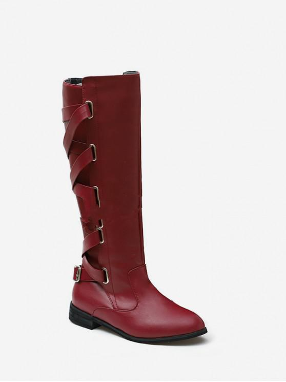 trendy Back Criss-cross Knight Fleece Knee High Boots - RED WINE EU 41