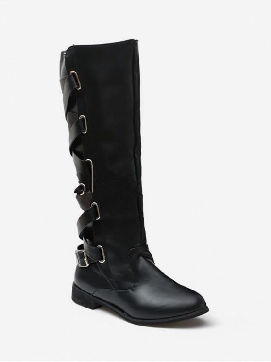 fashion Back Criss-cross Knight Fleece Knee High Boots - BLACK EU 41