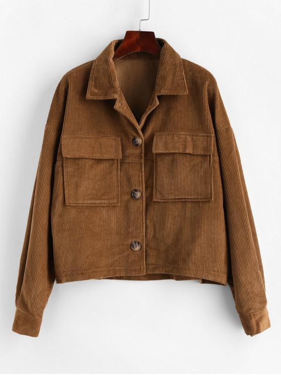 trendy ZAFUL Flap Pockets Button Up Corduroy Shirt Jacket - BROWN M