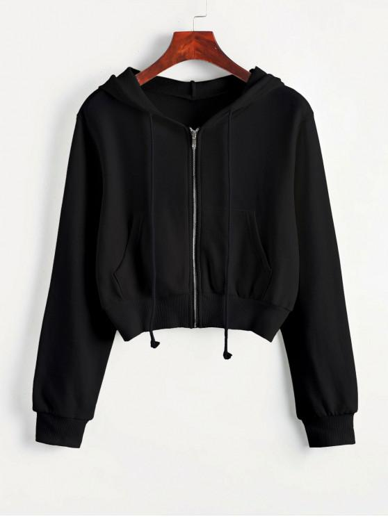 ladies Zip Up Pockets Crop Drawstring Hoodie - BLACK S