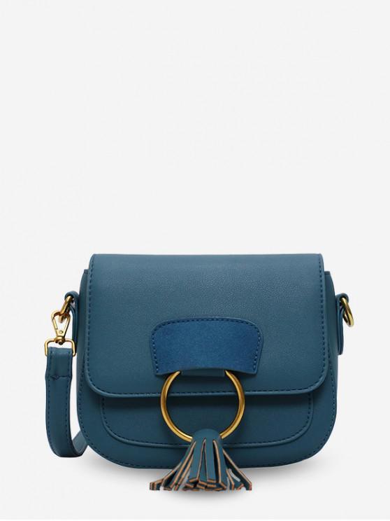 best Circle Fringe Accent Mini Crossbody Bag - PEACOCK BLUE