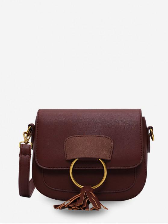 online Circle Fringe Accent Mini Crossbody Bag - COFFEE