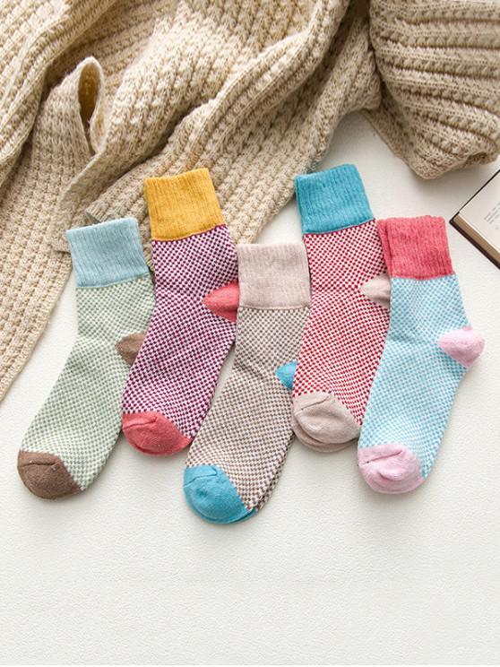 outfit 5 Pairs Crochet Pattern Crew Length Socks Set - MULTI-A