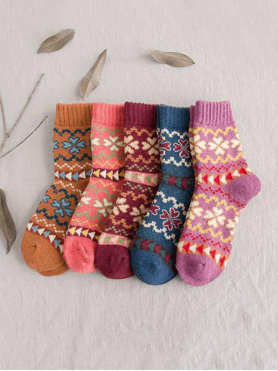 shop 5 Pairs Clover Pattern Crew Length Socks Set - MULTI-A