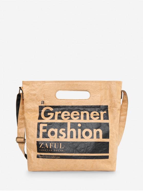 shops Environmental Friendly Paper Letter Printed Shoulder Bag - BURLYWOOD