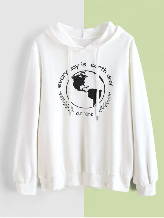 shops ZAFUL Earth Day Slogan Hoodie - WHITE M