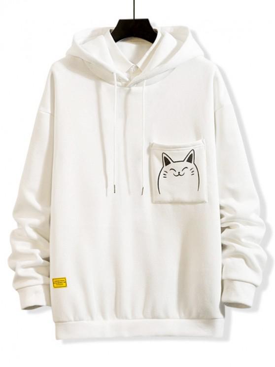 hot Cartoon Printed Casual Pocket Hoodie - WHITE M