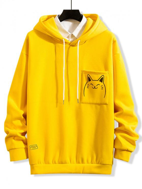 outfits Cartoon Printed Casual Pocket Hoodie - GOLDEN BROWN L