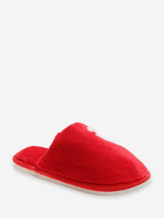 fancy Half Heart Fuzzy Flat Shoes - RED EU 38