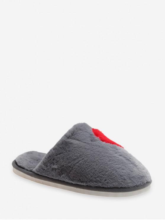 shops Half Heart Fuzzy Flat Shoes - GRAY EU 38