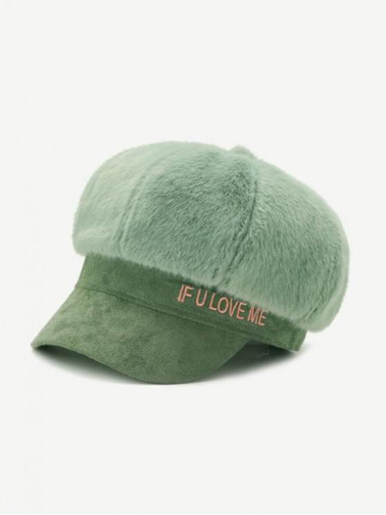 Chapeau d'Hiver Lettre en Fausse Fourrure - Vert
