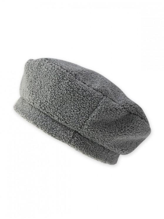 lady Solid Lamb Wool Beret Hat - GRAY