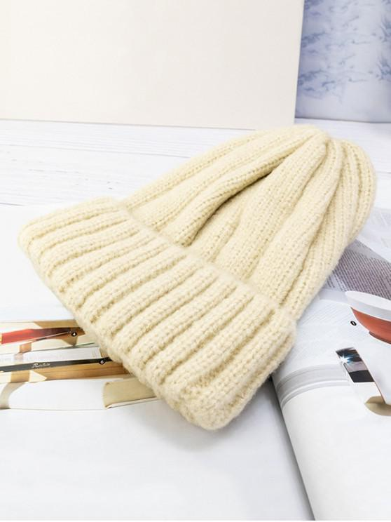 women's Solid Winter Knitted Hat - BEIGE