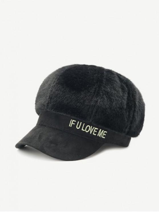 ladies Winter Faux Fur Letter Cap - BLACK