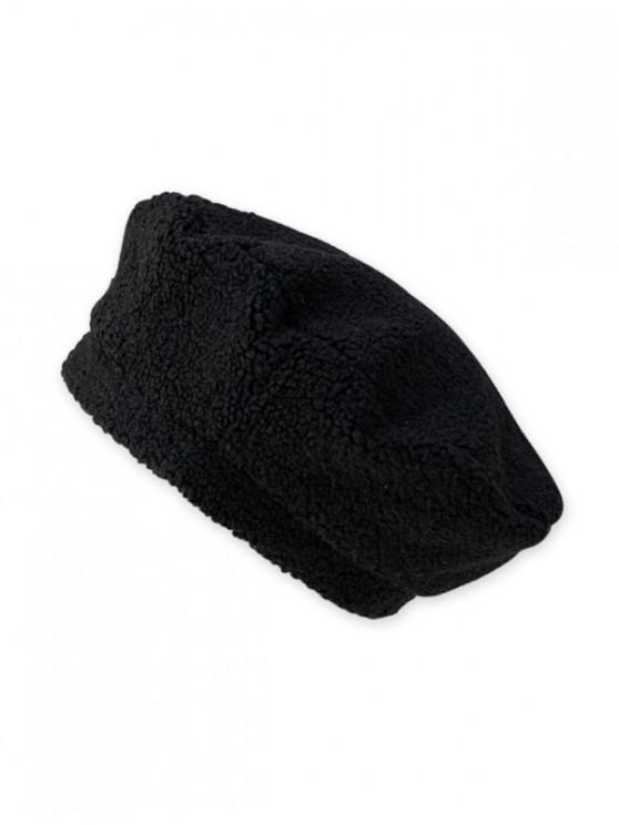 best Solid Lamb Wool Beret Hat - BLACK