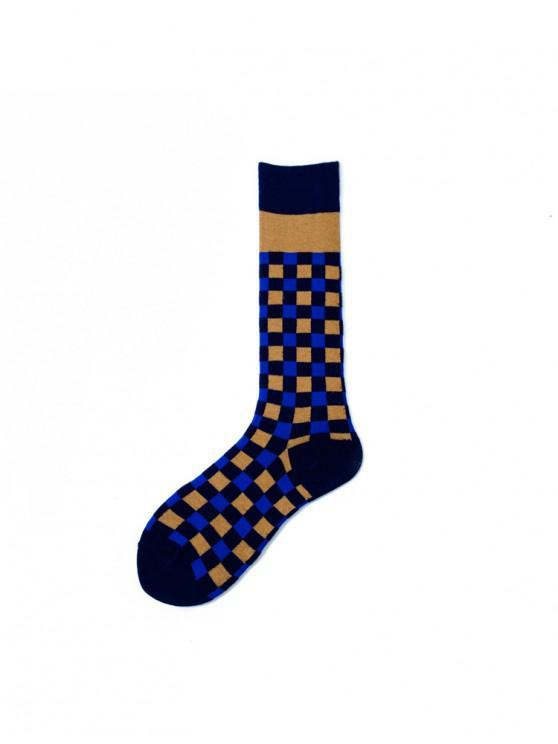 Chaussettes de Sport Longueur à Mollet à Carreaux - Bleu