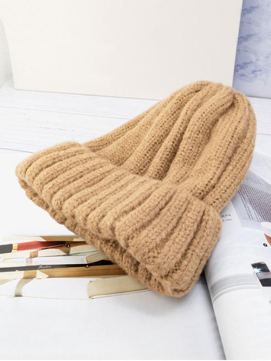 outfits Solid Winter Knitted Hat - KHAKI