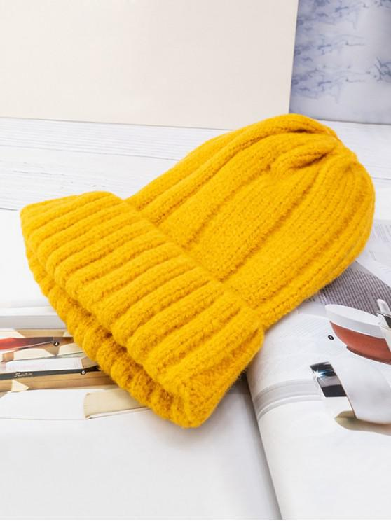 shop Solid Winter Knitted Hat - YELLOW