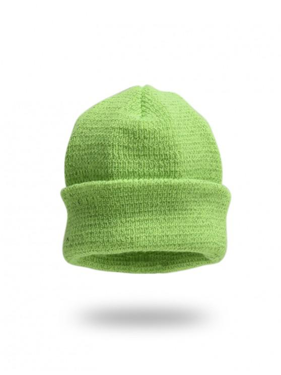 women Winter Solid Turn Up Edge Knitted Hat - CHARTREUSE
