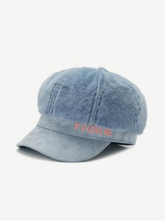 Chapeau d'Hiver Lettre en Fausse Fourrure - Bleu