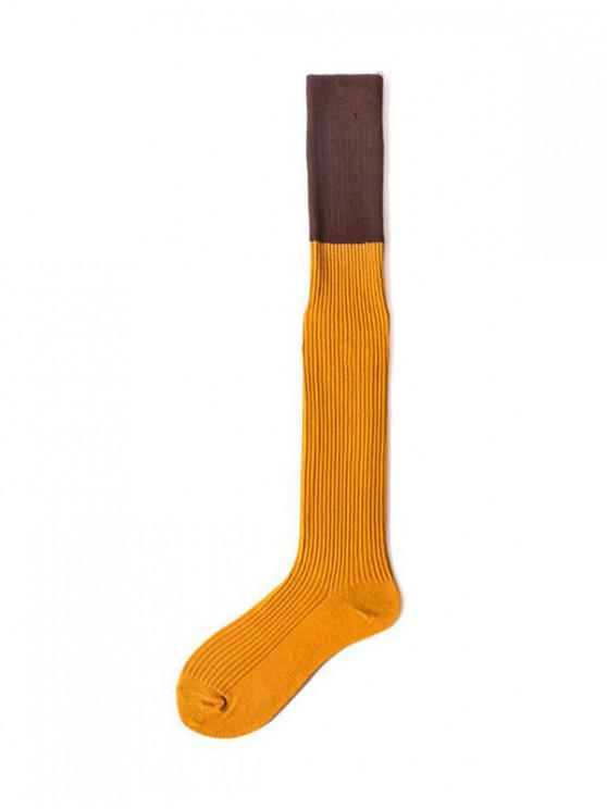 fashion Colorblock Thigh High Socks - YELLOW
