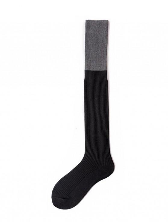 unique Colorblock Thigh High Socks - BLACK