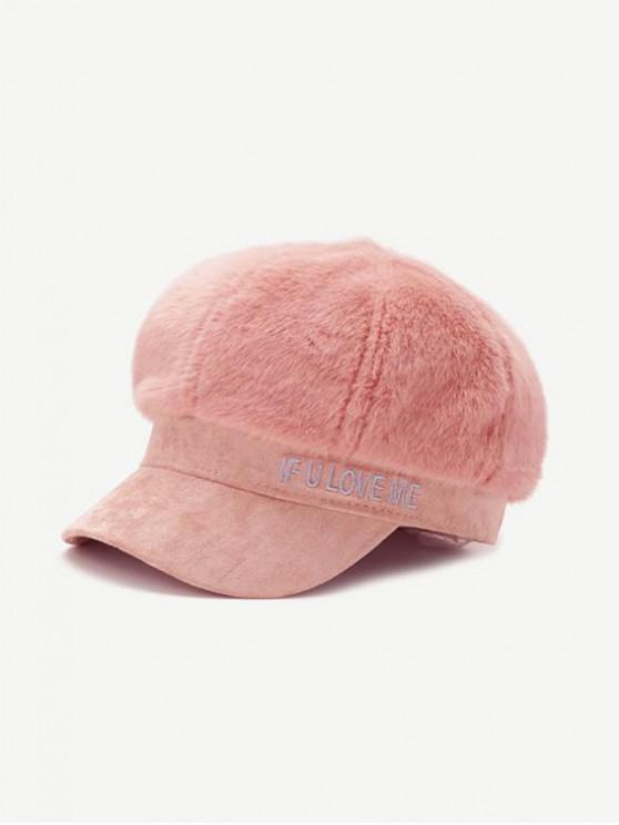 Chapeau d'Hiver Lettre en Fausse Fourrure - Rose Léger