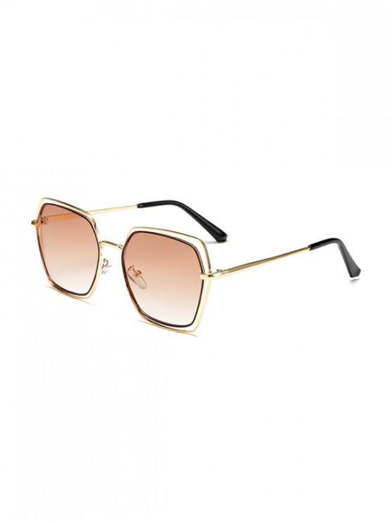 best Hollow Irregular Metal Ombre Sunglasses - LIGHT BROWN