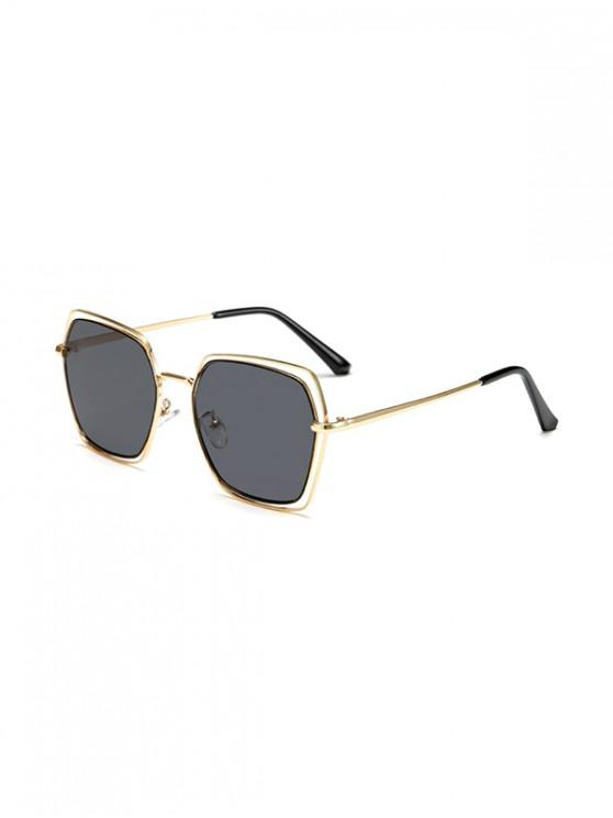 new Hollow Irregular Metal Ombre Sunglasses - JET BLACK