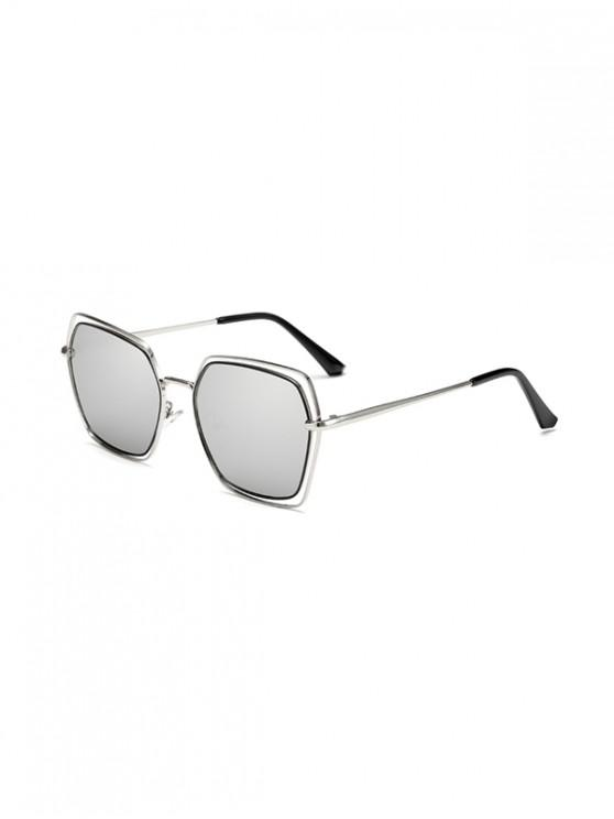 hot Hollow Irregular Metal Ombre Sunglasses - COOL WHITE