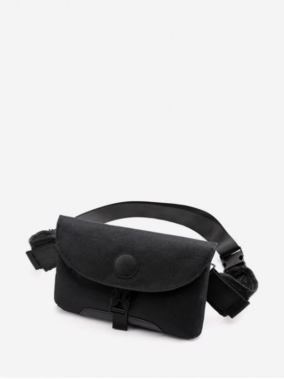 shops Clip Buckle Casual Flap Fanny Pack - BLACK