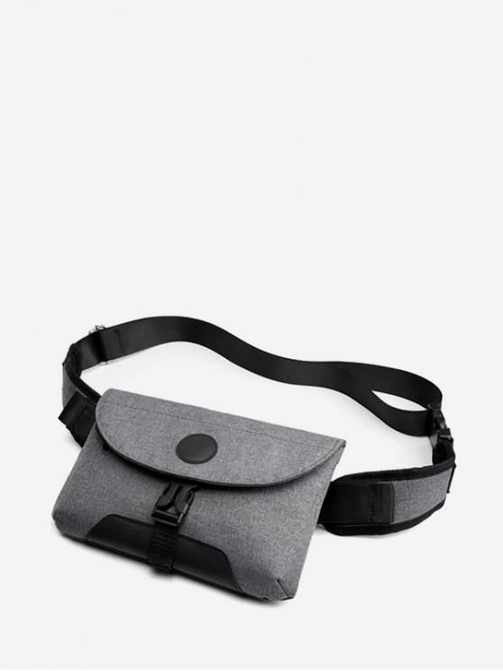latest Clip Buckle Casual Flap Fanny Pack - BATTLESHIP GRAY
